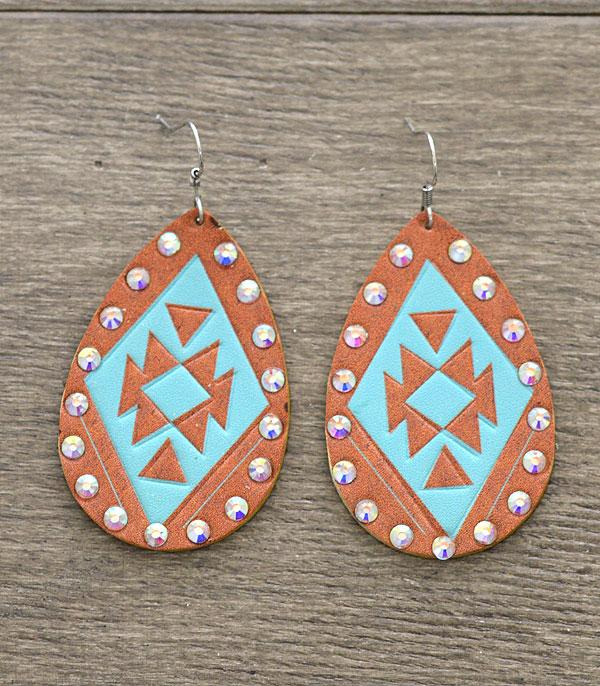 New Arrival :: Wholesale Aztec Print Leather Teardrop Earrings