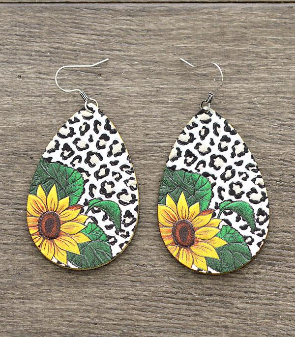 New Arrival :: Wholesale Leather Sunflower Leopard Print Earrings