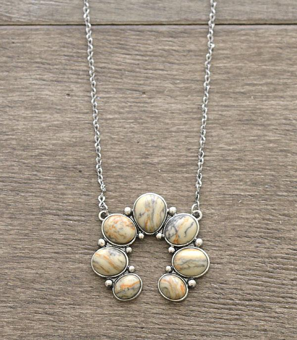 New Arrival :: Wholesale Semi Stone Squash Blossom Necklace