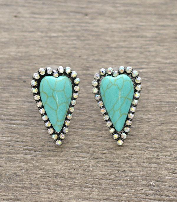 <font color=Turquoise>TURQUOISE JEWELRY</font> :: Wholesale Semi Stone Heart Stud Earrings