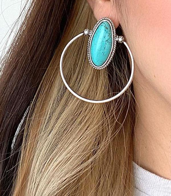 <font color=Turquoise>TURQUOISE JEWELRY</font> :: Wholesale Semi Stone Western Hoop Earrings