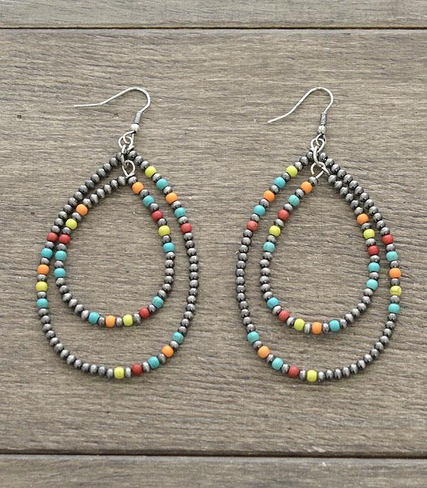 New Arrival :: Wholesale Semi Stone Bead Navajo Hoop Earrings