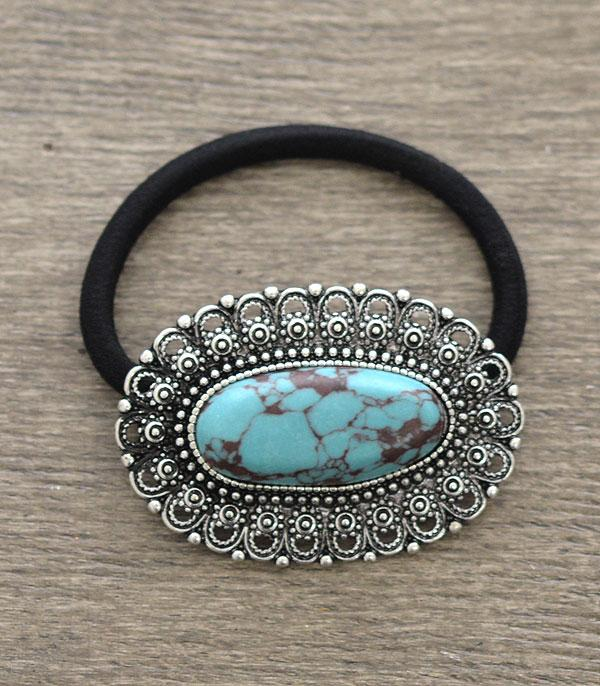 New Arrival :: Wholesale Turquoise Stone Ponytail Hair Tie