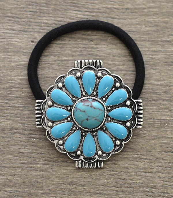 New Arrival :: Wholesale Turquoise Western Ponytail Hair Tie