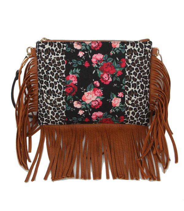 New Arrival :: Wholesale Leopard Floral Fringe Crossbody Bag