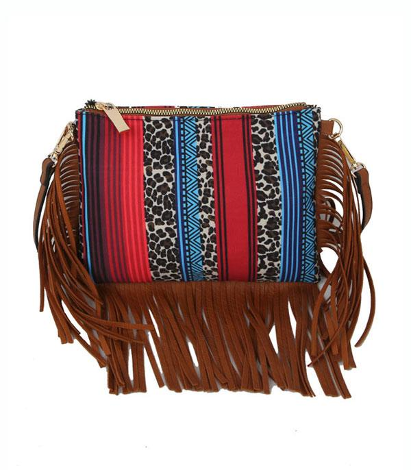 New Arrival :: Wholesale Leopard Bull Skull Fringe Crossbody Bag