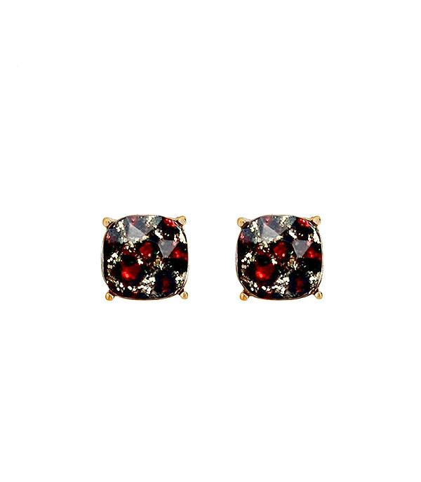 New Arrival :: Wholesale Cushion Cut Leopard Glitter Earrings
