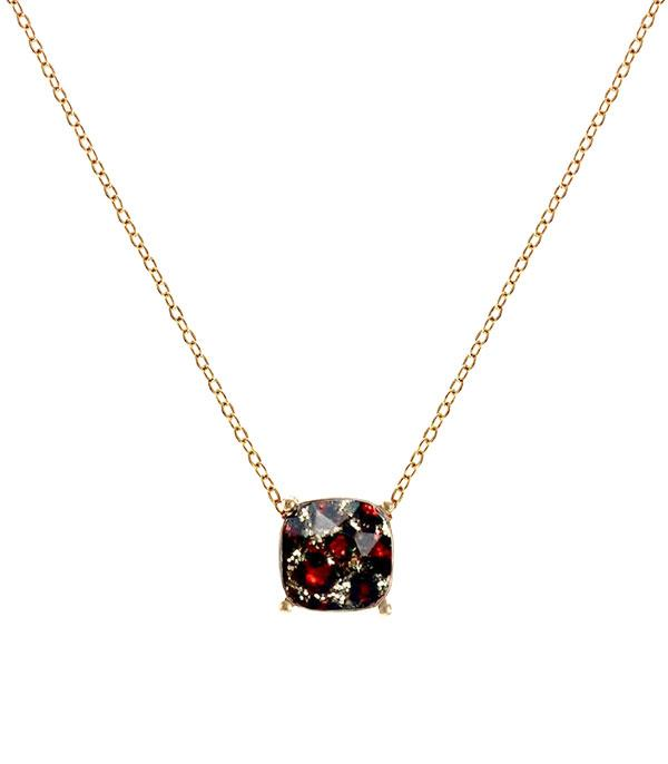 New Arrival :: Wholesale Cushion Cut Leopard Glitter Necklace