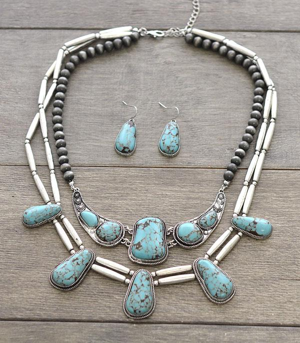 New Arrival :: Wholesale Turquoise Statement Necklace Set