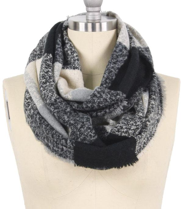 New Arrival :: Wholesale Soft Plaid Infinity Scarf