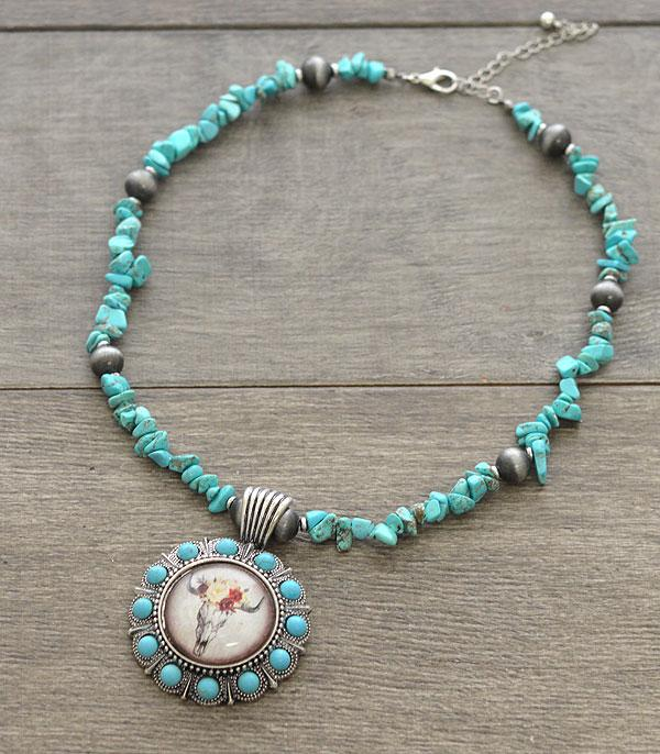 <font color=Turquoise>TURQUOISE JEWELRY</font> :: Wholesale Bull Skull Pendant Stone Necklace