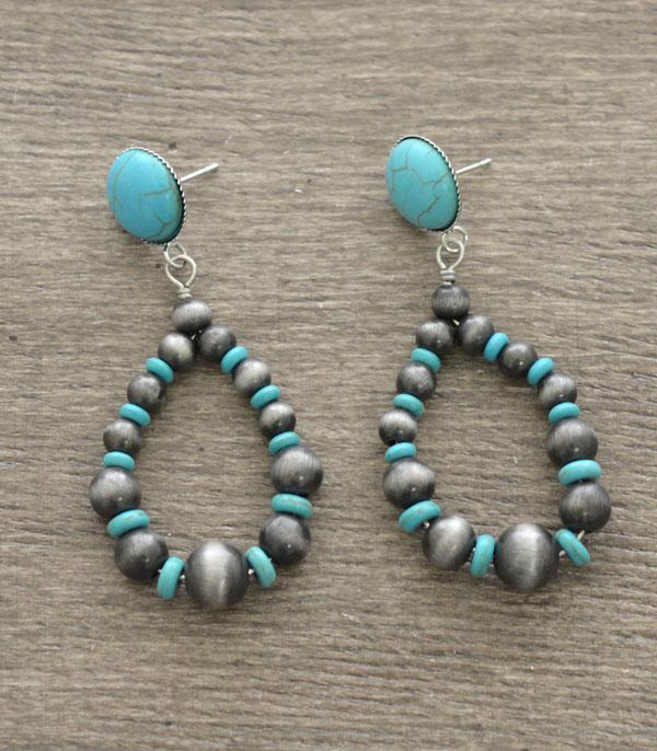 <font color=Turquoise>TURQUOISE JEWELRY</font> :: Wholesale Navajo Bead Teardrop Earrings