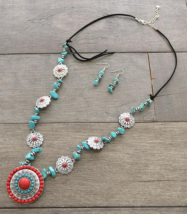 <font color=Turquoise>TURQUOISE JEWELRY</font> :: Wholesale Turquoise Concho Long Necklace Set