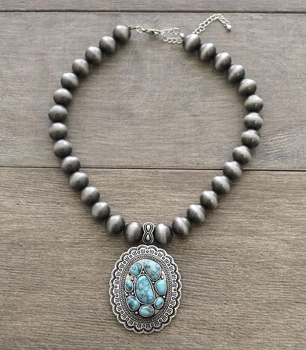 New Arrival :: Wholesale Turquoise Concho Navajo Bead Necklace
