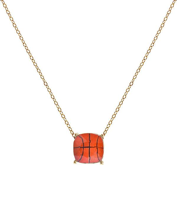 SPORTS THEME :: BASKETBALL | VOLLEYBALL :: Wholesale Basketball Pendant Necklace