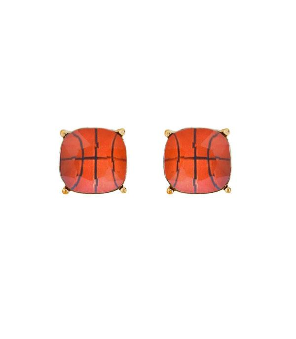 SPORTS THEME :: BASKETBALL | VOLLEYBALL :: Wholesale Basketball Stud Earrings