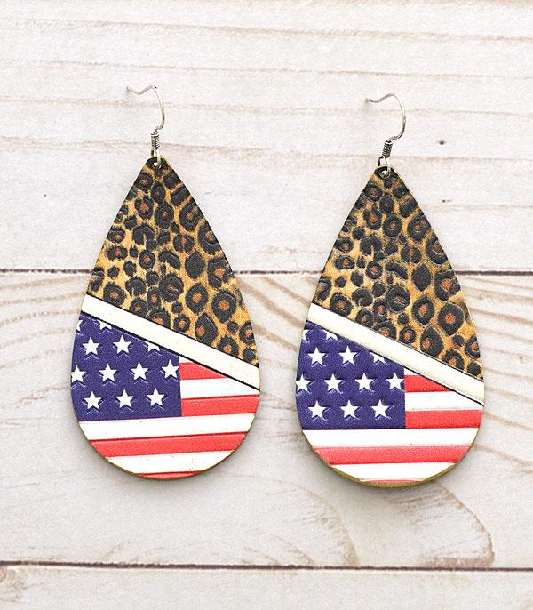 <font color=RED>RED,WHITE, AND BLUE</font> :: Wholesale Leather US Flag Teardrop Earrings