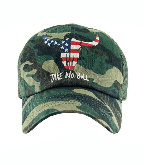 <font color=RED>RED,WHITE, AND BLUE</font> :: Wholesale Flag Take No Bull Vintage Ballcap