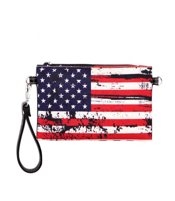 New Arrival :: Wholesale American Flag Canvas Clutch Wristlet