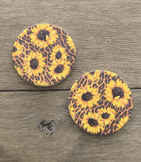 New Arrival :: Wholesale Sunflower Leopard Print Car Coaster Set
