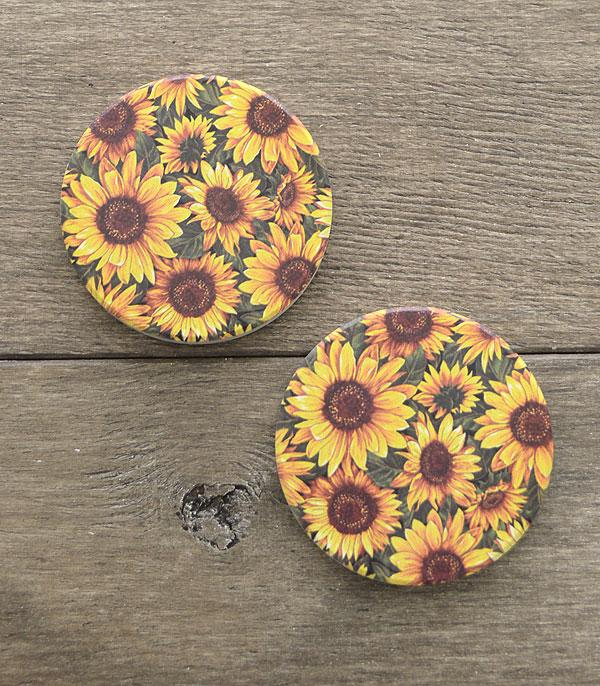 New Arrival :: Wholesale Leopard Sunflower Print Car Coaster Set