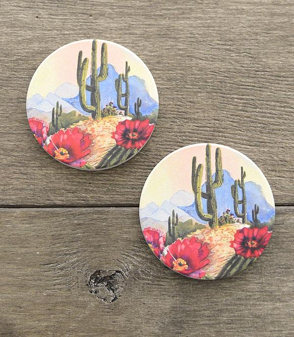 New Arrival :: Wholesale Cactus Print Car Coaster Set