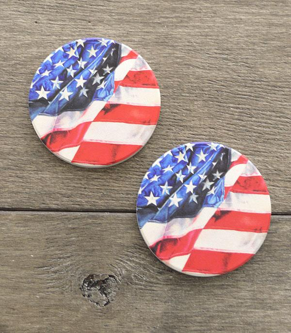 <font color=RED>RED,WHITE, AND BLUE</font> :: Wholesale USA Flag Car Coaster Set