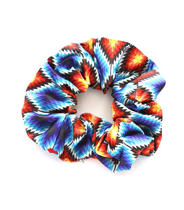 New Arrival :: Wholesale Navajo Aztec Print Hair Scrunchie