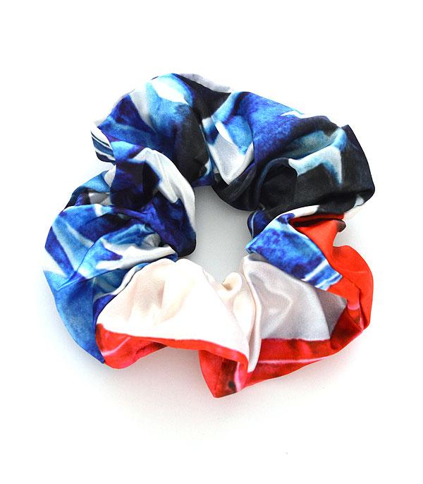 New Arrival :: Wholesale USA Flag Print Hair Scrunchie