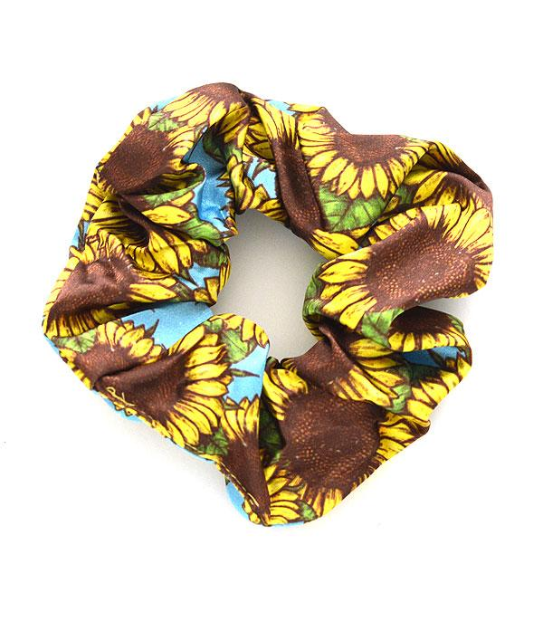 New Arrival :: Wholesale Sunflower Print Hair Scrunchie