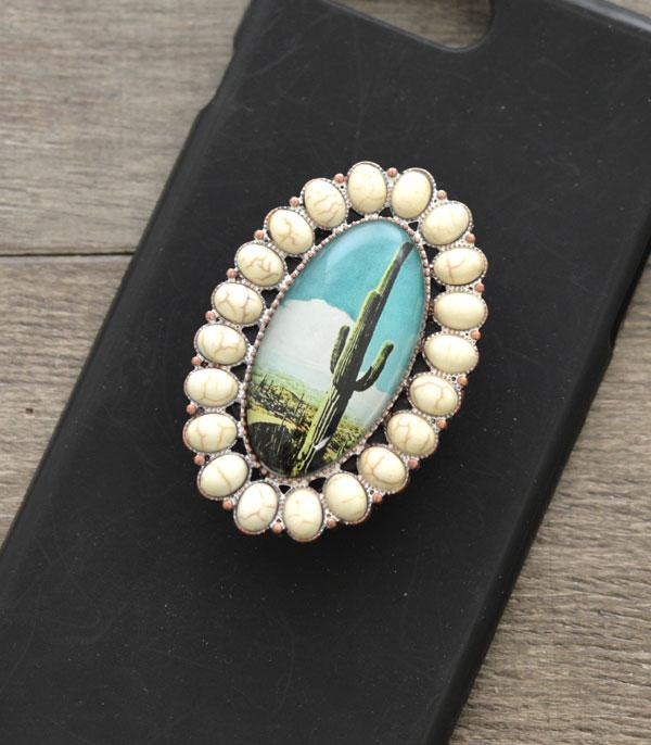 New Arrival :: Wholesale Cactus Turquoise Stone Phone Grip