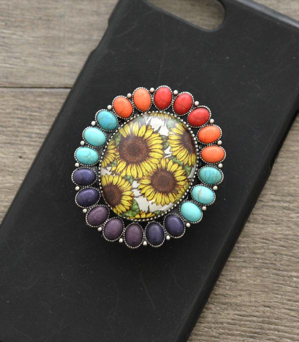 New Arrival :: Wholesale Sunflower Turquoise Phone Grip