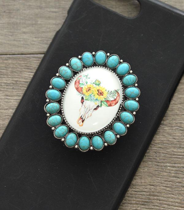 New Arrival :: Wholesale Bull Skull Turquoise Phone Grip