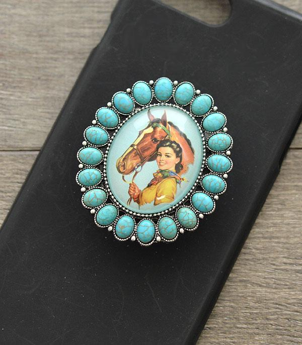 PHONE ACCESSORIES :: Wholesale Cowgirl Turquoise Phone Grip