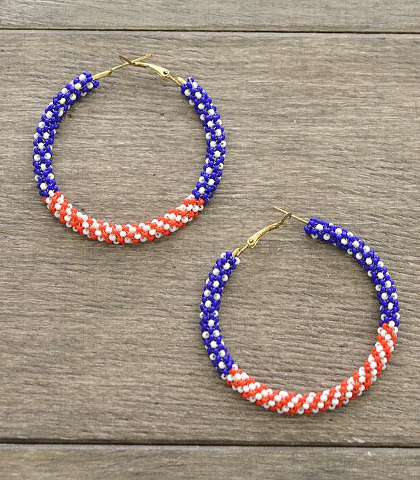 New Arrival :: Wholesale Patriotic Seed Bead Hoop Earrings
