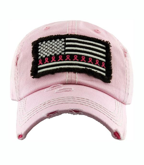 New Arrival :: Wholesale Pink Ribbon Flag Vintage Ballcap