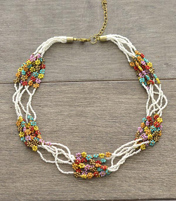 New Arrival :: Wholesale Seed Bead Multi Strand Choker Necklace