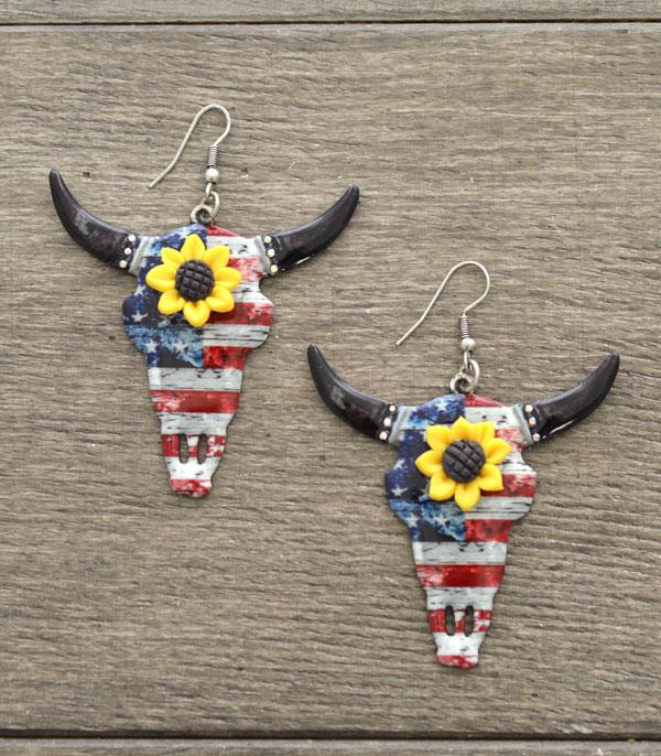 <font color=RED>RED,WHITE, AND BLUE</font> :: Wholesale Sunflower Steerhead Earrings