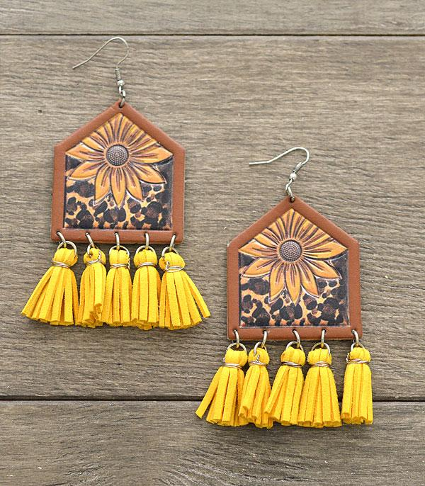 New Arrival :: Wholesale Leather Cattle Tag Tassel Earrings