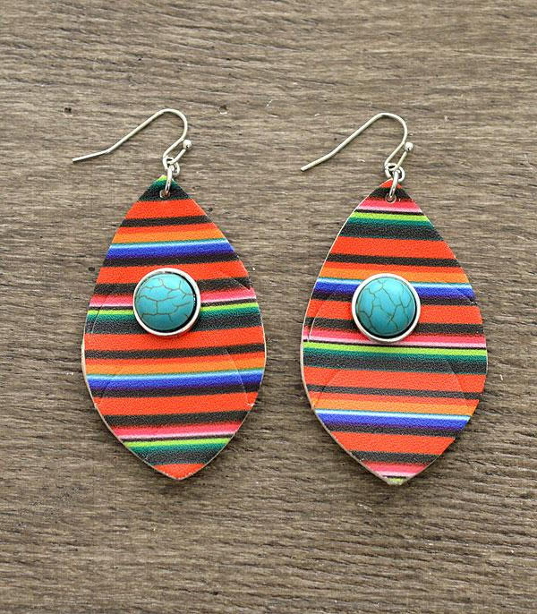 New Arrival :: Wholesale Serape Print Turquoise Earrings