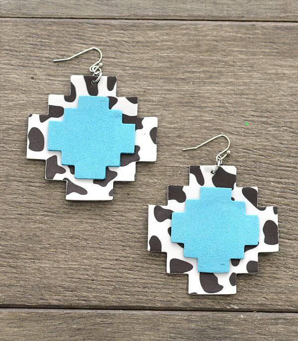 New Arrival :: Wholesale Cow Print Aztec Leather Earrings