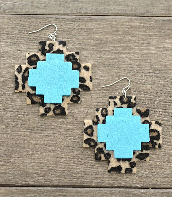 New Arrival :: Wholesale Leopard Print Aztec Earrings