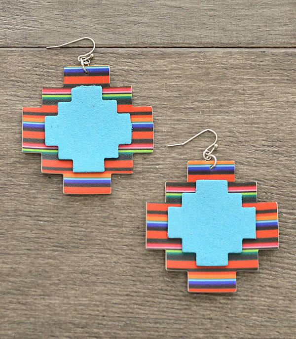 New Arrival :: Wholesale Serape Print Aztec Earrings