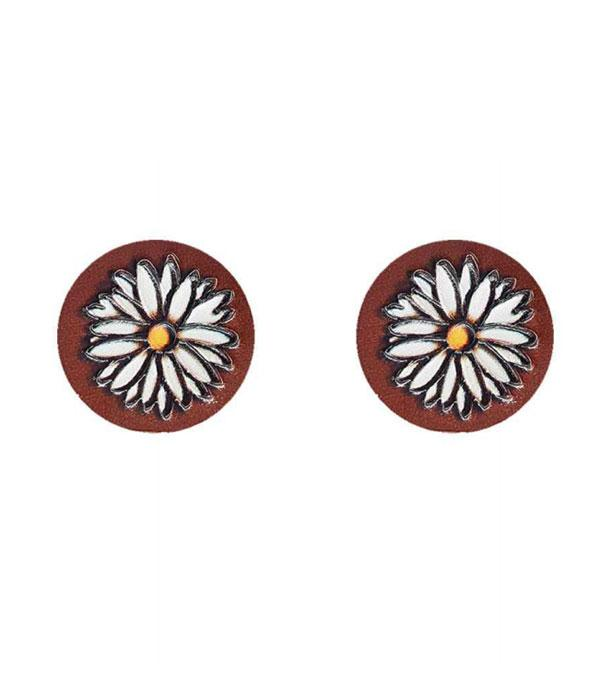 New Arrival :: Wholesale Genuine Leather Flower Post Earrings