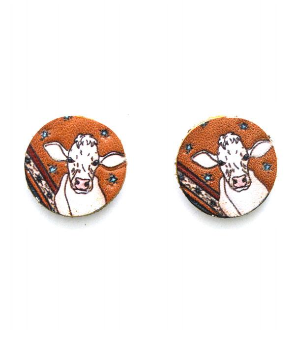 New Arrival :: Wholesale Genuine Leather Cow Print Post Earrings