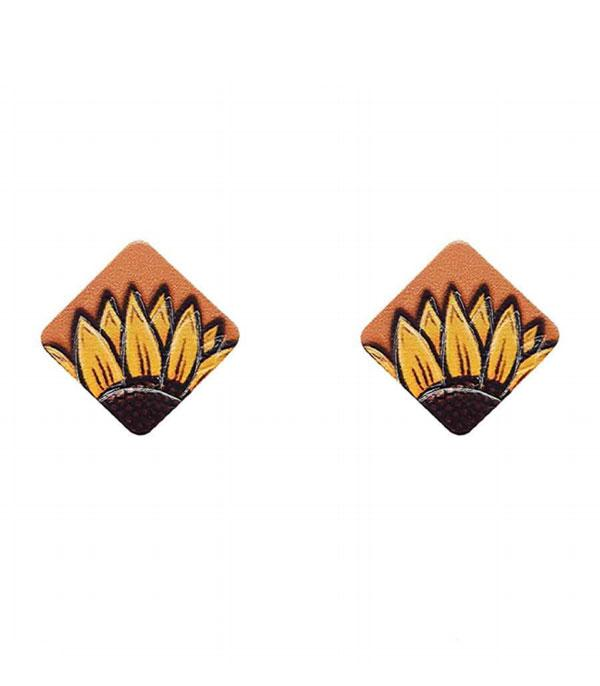 New Arrival :: Wholesale Genuine Leather Sunflower Earrings
