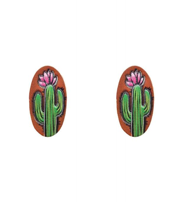 New Arrival :: Wholesale Genuine Leather Cactus Post Earrings