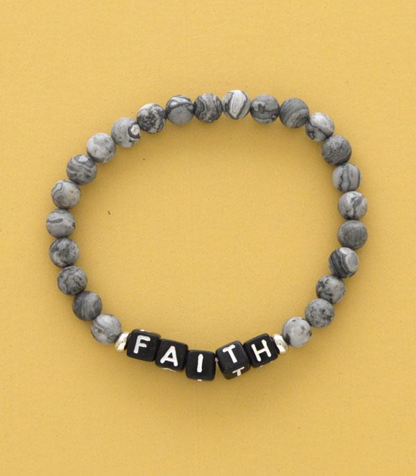 New Arrival :: Wholesale Faith Word Block Gem Stone Bracelet
