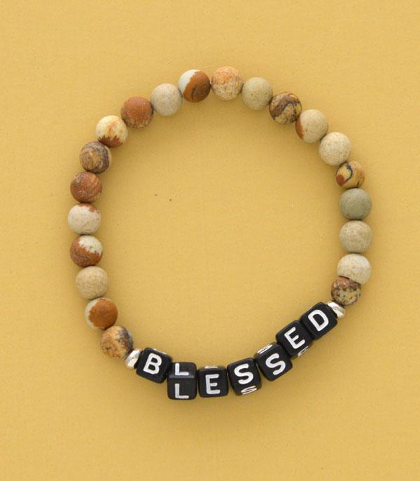 New Arrival :: Wholesale Blessed Word Block Gem Stone Bracelet