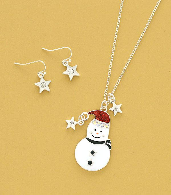 New Arrival :: Wholesale Snowman Charm Necklace Set